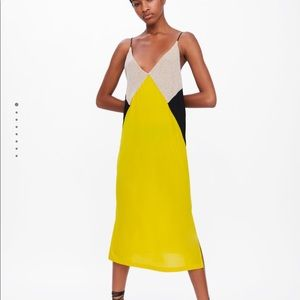 Zara Color Block Slip Dress